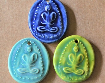 3 Handmade Ceramic Pendants - Buddha Beads - Meditation Figure Charm - Perfect for Yoga and Spiritual Jewelry  - Aromatherapy Diffuser