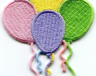 Balloons birthday party pastel embroidered applique iron-on patch