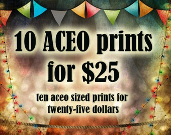 Special Savings - 10 ACEO Giclee Art Prints - Save on Multiple Prints - Any ten of my illustrations Artists Trading Card Sized