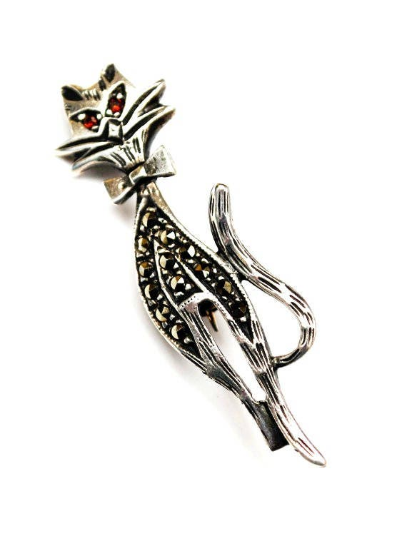 Sterling silver Cat Brooch - marcasites - Red rhinestone eyes - feline kitty  pin