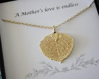 Gold Leaf Necklace Mother Gift, Aspen Leaf Necklace, Real Leaf Necklace, Thank You Card