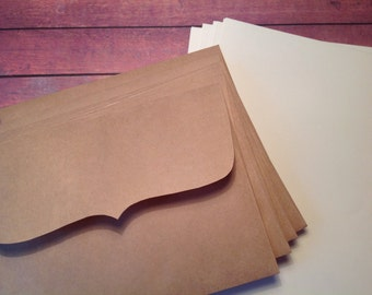 writing set, stationery set, rustic writing set, stationary set, Kraft and cream writing set, beige writing paper