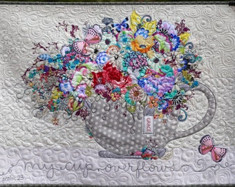 MarveLes PAPER PATTERN for Collage My Cup Overflows Quilt Wall Hanging Floral  Home Decor Tea cup Coffee cup