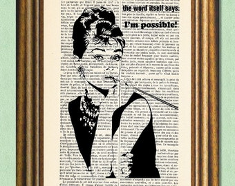 NOTHING IS IMPOSSIBLE - Audrey Hepburn Quote - Dictionary Art Print - Wall Art