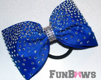 Gorgeous Royal Blue  LARGE Tail-less rhinestone cheer bow by FunBows !!