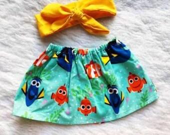 Free shipping to US and PR,Finding Nemo skirt,Finding Dory,Nemo skirt,Headband yellow,Newborn and baby girl skirt