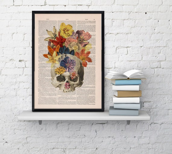Flowers and  Skull collage Printed on Vintage Dictionary Book page- dictionary book print ,Wall decor art SKA016b