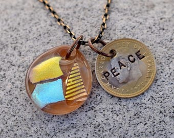 Dichroic Glass Pendant Boro Lampwork Stamped Coin Necklace - Peace