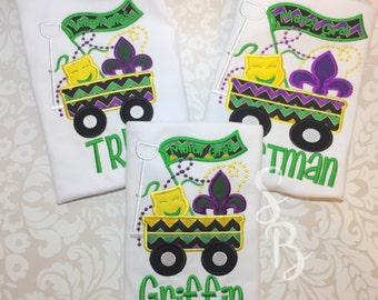Boys Mardi Gras Shirt, Boys Mardi Gras Shirt, Personalized Mardi Gras, Kids Mardi gras Shirt, Monogram Mardi Gras, Mardi Gras wagon,name