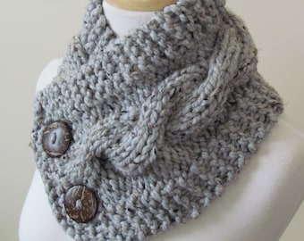 """Knit Neck Warmer, Cable Knit Scarf,  Chunky Warm Winter Scarf in Grey Marble 6"""" x 25"""" Coconut Shell Buttons Ready to Ship - Gift for Her"""