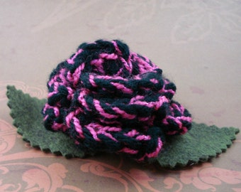 Crocheted Rose Bar Pin - Black with Pink Glitter (SWG-PS-ZZ02)