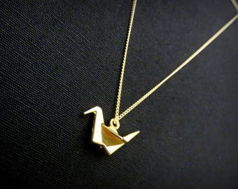 Origami crane in Golden brass necklace