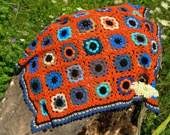 Wool blanket-baby boy crochet handmade granny squares fine multicolor blue-orange tones