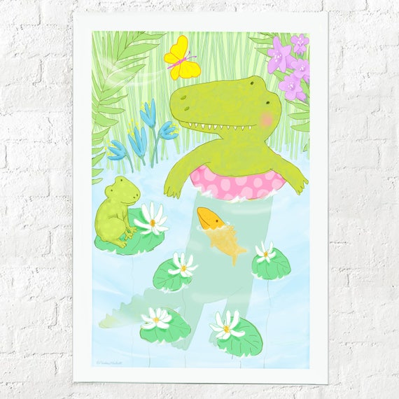 Alligator print for kid's room, nursery decor, baby gift, children's decor, kid's room art, kid's wall art, alligator art, kids wall decor,