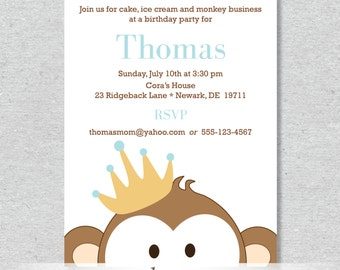 Royal Monkey King Party Invitation