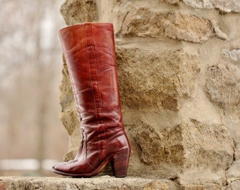 Vintage Frye Boots, Womens Size 5, Frye Riding Boots, Mahogany Leather Hippie Boots, Frye Cowboy Cowgirl boots, Knee High Heel Frye Boots