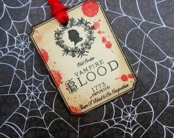 Old Order Vampire Blood Tag, Halloween Tag, Halloween Wine Tag, Drink Tag, Gift Tag, Vampire