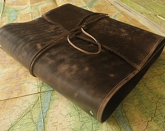 A4 Distressed Dark Brown Leather Wrap Ring Binder, Leather 4 Ring Binder, Leather Planner, Leather Wraparound Journal, Filofax Compatible.