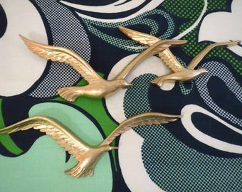 Vintage 1970s MID Century Modern HOMCO Seagulls Birds Plastic Gold Wall Art Retro