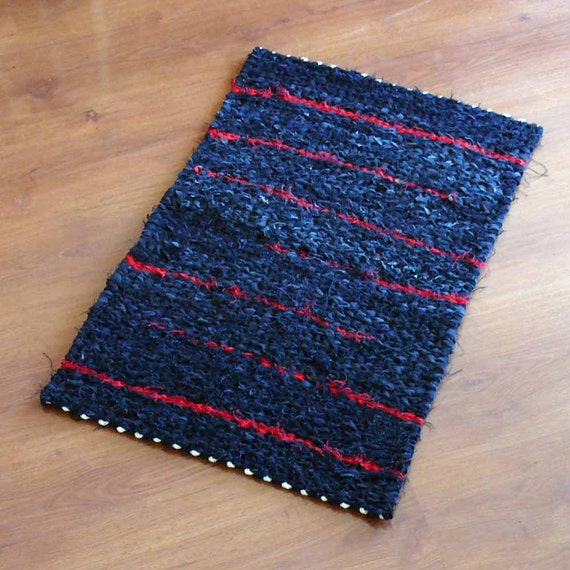 Black And Red Denim Twined Rag Rug