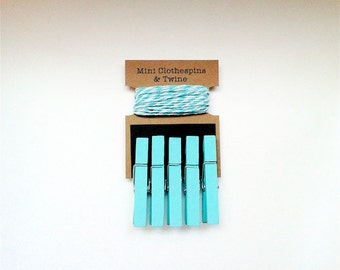 Aqua Clothespins. Mini Clothespins. Aqua Twine. Kids Art Display. Photo Display. Photo Clothesline. Party Decor. Gift Accessories.