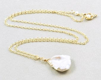 Keishi Pearl Necklace, Pearl Drop Necklace, White Pearl Necklace, June Birthstone