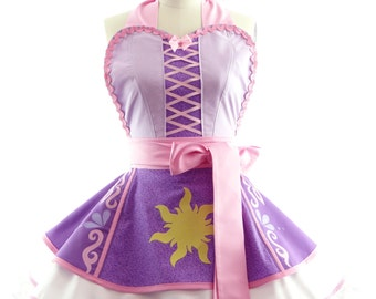 Retro Apron - Rapunzel Entangled Womans Aprons - Vintage Apron Style - Pin up Princess Apron - Perfect Disney Run Outift by BambinoAmore