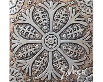 Suzani wall hanging carved in deep relief // Ceramic tile // Wall decor // Wall art // Suzani #3 // Aged silver