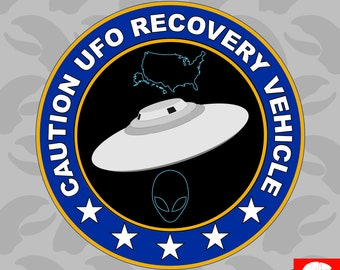 UFO Recovery Vehicle Sticker Self Adhesive Vinyl alien flying saucer - C1265