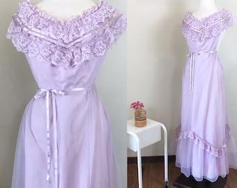 Vintage 1970s Dress / Lavender Lace / Tulle / Ribbon trim / Prom / XS