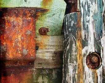 Green Red Texture Photograph--Texture Composition 1--Fine Art