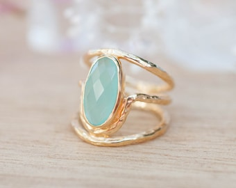 Gold Plated 14k Aqua Chalcedony * Gemstone Ring * Handmade * Statement * Natural * Organic*Gift for her*Jewelry*Bycila*May Birthstone*BJR022