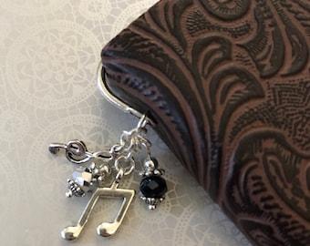 Music Bookmark — Great Gift! Sparkle Musician Book Booklover Reader Black Grey Gray Silver