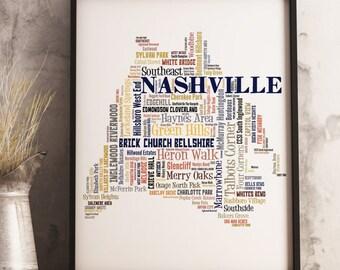 Nashville Map Art, Nashville Art Print, Nashville Neighborhood Map, Nashville Typography Art, Nashville Poster Print, Nashville Word Cloud
