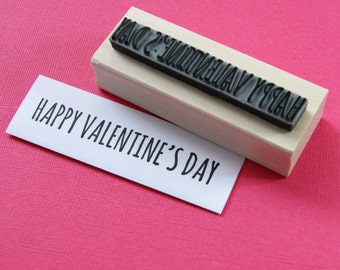 Happy Valentines Day Sentiment Text Rubber Stamp - Love Stamper - Valentine Gift - Gift for Couples - Valentine Card - DIY Valentine
