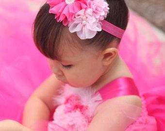 Pink Baby Headband, Pink Flower Headband, Flower Girl Headband, Baby Shower Gift, Newborn Photo Prop, Pink Bridal Headband, Toddler Headband
