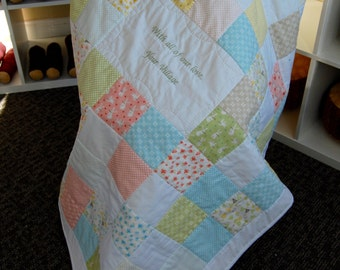 Custom Made Baby Quilt, Your Choice of Fabrics, Hand Quilted Nursery Bedding, Baby Shower Gift