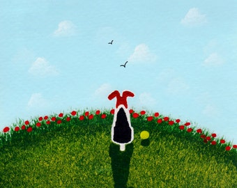 Wire Fox Terrier Dog reproduction art print by Todd Young SUMMER POPPIES