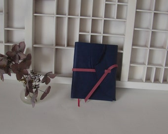 Blue writing book A6 with pink details-note book leather-marble cover pages-Leather diary-Manual Blank writing book