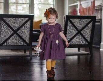 Plum Linen Dress, Short Sleeve Linen Dress, Girls Linen Dress, Linen Toddler Dress, Purple Dress, Purple Linen, Girls Spring Dress