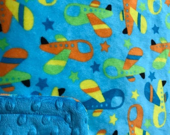 Minky Blanket Plane Print Minky with Turquoise Dimple Dot Minky Backing - Great Gift for a Baby or Toddler, Larger Sizes Available