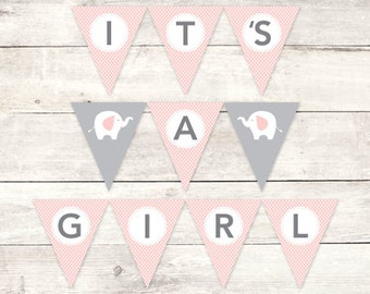 it's a girl banner baby shower printable DIY bunting banner elephant pink grey polka dots hanging banner digital triangle - INSTANT DOWNLOAD