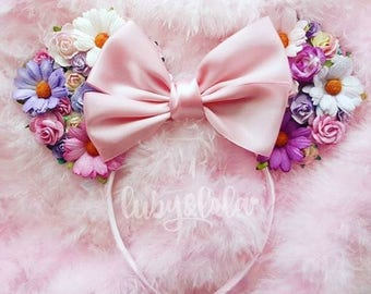 Made-To-Order Tangled Inspired Minnie Mouse ears Floral Minnie Ears Rapunzel Headband Disney Princess