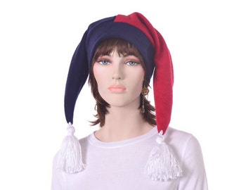 Red and Blue Harlequin Jester Hat White Tassels Costume Cap Two Point