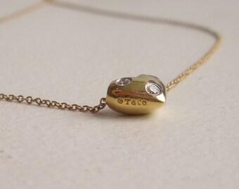 Tiffany and Co. Diamond Puffy Heart Pendant Necklace - 18k Yellow Gold - Platinum - Etoile