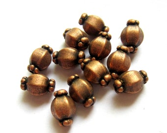 30 Antique copper beads metal spacers jewelry making supplies 7mm x 10mm  lead free nickel free F0527(-W5)