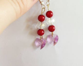 Red, white and pink Swarovski heart crystal earrings