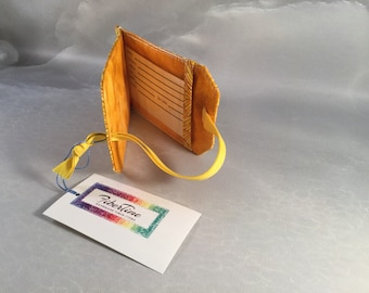 Handmade Yellow Feathers Luggage Tag
