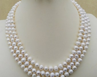 PEARL SET - white pearl necklace , 3 rows necklace, necklace earrings set , free shipping