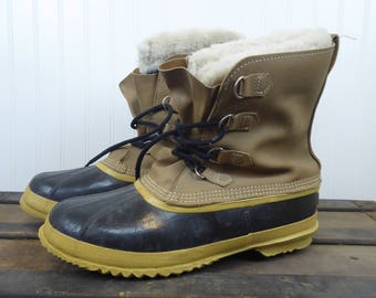 Vintage Sorel Kaufman Leather Rubber Winter Boots Men's Size 12 Made in Canada